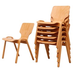 Fritz Hansen Style Stacking Dining Chairs