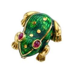 Frog Gold Enamel Ruby Clip Brooch