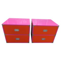 Fun Pop Colored Pair of Campaign Nightstands Mid-Century Modern Campaigner