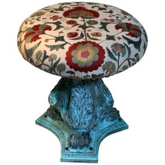 Funky Antique Suzani Stool or Side Table