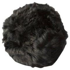 Fur Snowball Pillow - Black