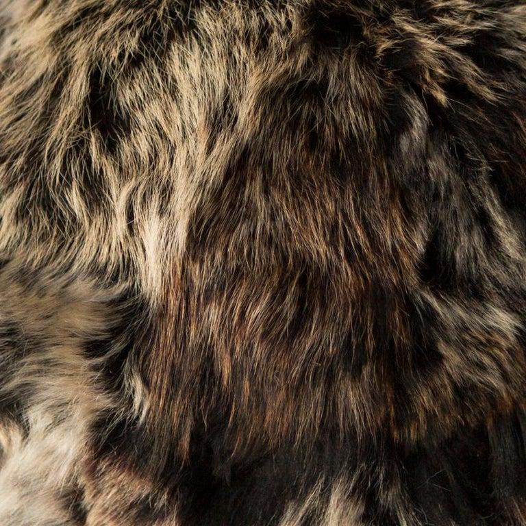 Modern Fur Snowball Pillow - Truffle For Sale