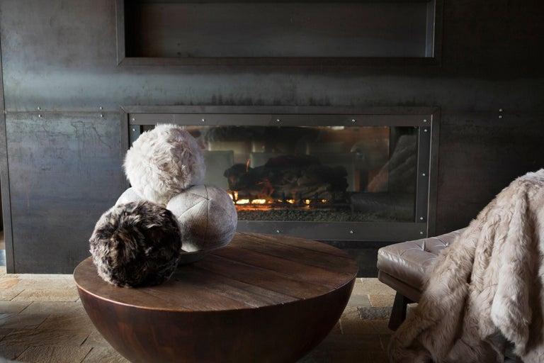 Fur Snowball Pillow - Truffle In New Condition For Sale In Sebastopol, CA