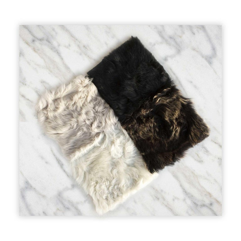 Contemporary Fur Snowball Pillow - Truffle For Sale