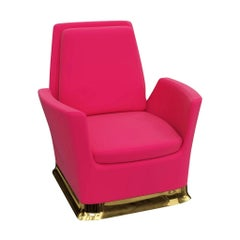 Swivel Lounge Chair In Pink Velvet With Polished Brass Base