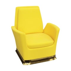 Swivel Lounge Chair in Yellow Velvet With Polished Brass Base
