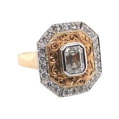 G13885 Emerald Cut Diamond Ring