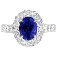 GAL Certified 1.84 Carat Oval Cut Ceylon Sapphire and Diamond Cluster Ring