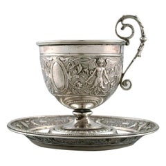 Gebrüder Friedländer, Berlin, Coffee Cup with Saucer in Silver, 19th Century