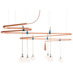 Genio Chandelier, Copper Ceiling Lamp System with Sand Blasted Glass Bowls