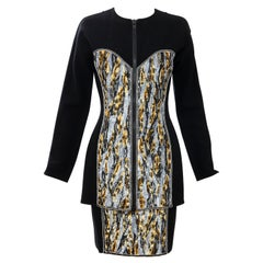 Geoffrey Beene Black Wool Crepe Embroidered Sequins Dress Ensemble, Circa 1990's