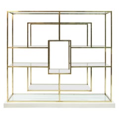 Geometric Brass Shelf in the Style of Romeo Rega, Italy, 1970s