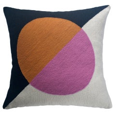 Geometric Madrid Circle Hand Embroidered Modern Throw Pillow Cover
