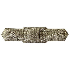 Geometric Platinum Art Deco Diamond Bar Pin Brooch