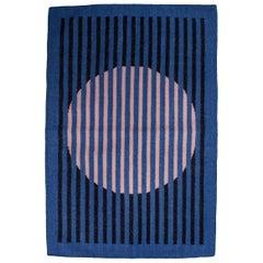 Geometric Vera Black Hand Woven Modern Wool Rug, Carpet and Durrie