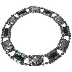 Georg Jensen Sterling Silver Chrysoprase Dove Necklace