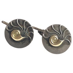 Georg Jensen Vintage #52 Sterling and Gold Nautilus Shell Cufflinks