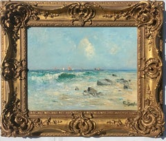 19th century  English impressionist, seascape beach off of the French Coast,
