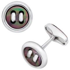 George Gero 18 Karat White Gold and Pinctada Maxima Button Cufflinks