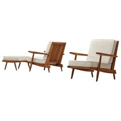 George Nakashima Spindleback Armchairs with Ottoman