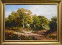 Froggatt, Derbyshire - Large 19th Century Victorian Landscape Oil Painting