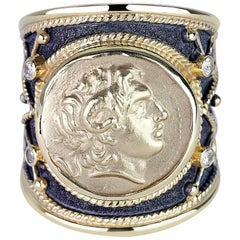 Georgios Collections 18 Karat Gold Diamond Ring with Alexander the Great Coin