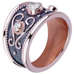Georgios Collections 18 Karat Rose Gold Diamond Band Ring with Granulation Work