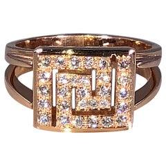 Georgios Collections 18 Karat Rose Gold Greek Key Design Ring with Diamonds