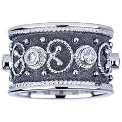 Georgios Collections 18 Karat White Gold Diamond Band Ring with Black Rhodium.