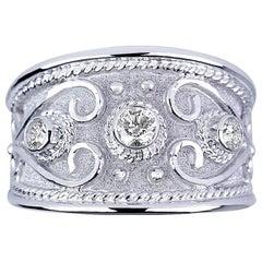 Georgios Collections 18 Karat White Gold Diamond Byzantine Ring With Granulation