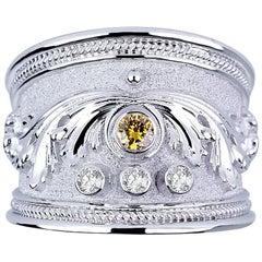 Georgios Collections 18 Karat White Gold Diamond Band Ring with a Yellow Diamond