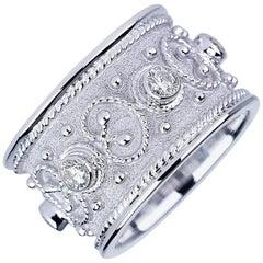 Georgios Collections 18 Karat White Gold Diamond Unisex Band Ring