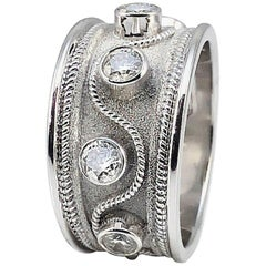 Georgios Collections 18 Karat White Gold Diamonds Band Ring with Granulation