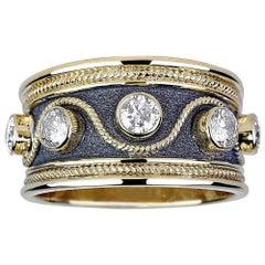Georgios Collections 18 Karat Yellow Gold and Black Rhodium Diamond Band Ring