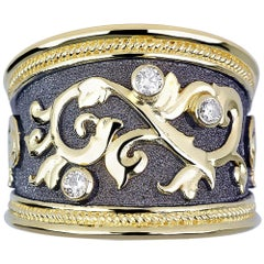 Georgios Collections 18 Karat Yellow Gold Diamond Band Ring with Black Rhodium