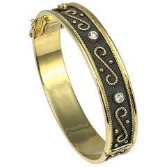 Georgios Collections 18 Karat Yellow Gold diamond Two Tone Granulated Bracelet