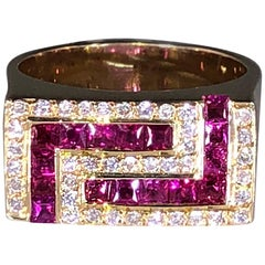 Georgios Collections 18 Karat Yellow Gold Unisex Diamond Blood Red Ruby Ring