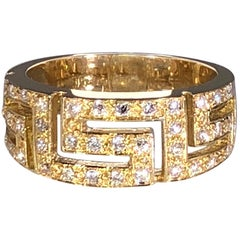 Georgios Collections Yellow Gold 18 Karat Diamond Ring with the Greek Design