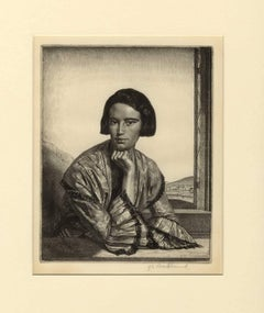 Viba (etched portrait of an elegant woman posed in front of a rocky landscape)