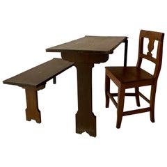 German Art Deco Wabi Sabi Naive Brown Oak Prison Cell Table and Bench, 1930s