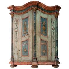 German Baroque Painted Provincial Cupboard, Dated 1799