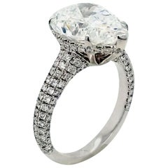 GIA 4.86 Carat F/SI2 Pear Shape 18 Karat Gold Pave Set Diamond Ring with Halo