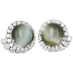 GIA and AGL Certified, 38.43 Carat Natural Cat's-Eye and Diamond Earrings