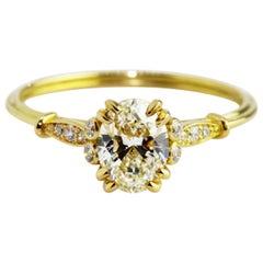GIA Certified 0.71 Carat Oval Diamond 18 Karat Yellow Gold Newdwardian Ring