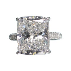 """GIA Certified 10.08 Carat Cushion Cut Diamond Color """"H"""" Clarity SI2 in Pave Ring"""