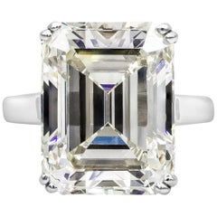 GIA Certified 16 Carat Emerald Cut Diamond Solitaire Engagement Ring