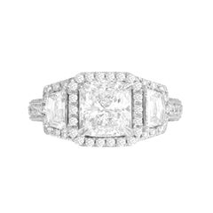 GIA Certified 1.72 Carat Cushion Cut Diamond Halo Bridal Ring in 18 Karat Gold