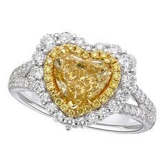 GIA Certified 2.16 Carat Fancy Yellow Diamond Ring in Heart Shape