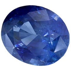 GIA Certified 2.19 Carat Oval Deep Cornflower Blue Sapphire
