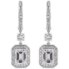 GIA Certified 2.5 Carat Emerald Cut Diamond Drop Earrings